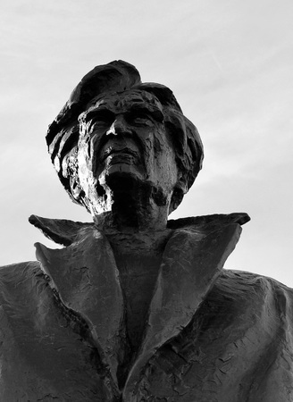 essayist: BUCHAREST, ROMANIA - 9 DECEMBER 2015:  A bust of the Romanian philosopher and essayist Emil Cioran was officially unveiled today at the intersection of Gara de Nord and Mircea Vulcanescu.