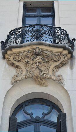 ironwork: An ornamental ironwork art nouveau balcony in Bucharest, Romania