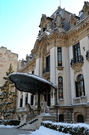 cherubs: BUCHAREST, ROMANIA - 26 JANUARY 2016: Cantacuzino Palace, built in French baroque style with art nouveau features such as the clamshell awning, houses a museum for the composer, George Enescu. Editorial