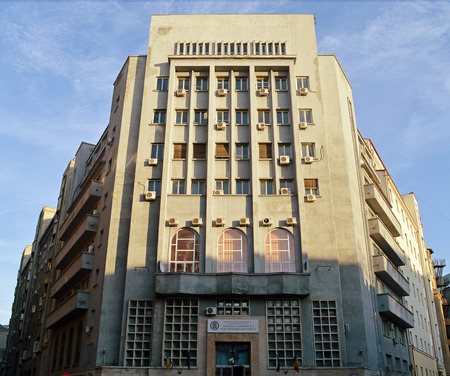 architecture monumental: BUCHAREST, ROMANIA - 5 FEBRUARY, 2016: This vast art deco block was built in the 1930s as the heagquarters of the Jandarmeria. It now houses the National Institute of Administration.