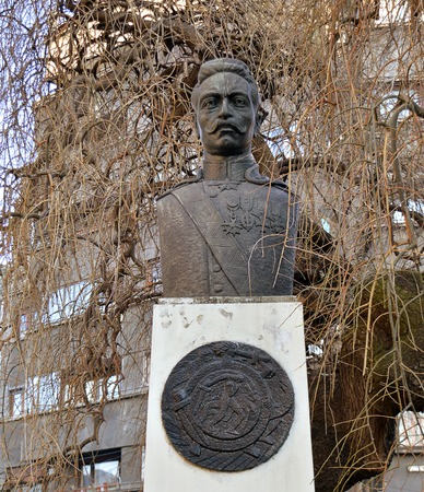 national hero: BUCHAREST, ROMANIA - 9 FEBRUARY 2016: A somewhat overgrown statue of Armenias national hero General Andranik Andranik Ozanian stands in the grounds of the Armenian church.