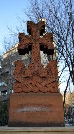 ottoman empire: BUCHAREST, ROMANIA - 9 FEBRUARY 2016: A cross beside the Armenian Church in Strada Armeneasca commemorates the victims of the Armenian genocide at the hands of the Ottoman Empire in 2015. Editorial