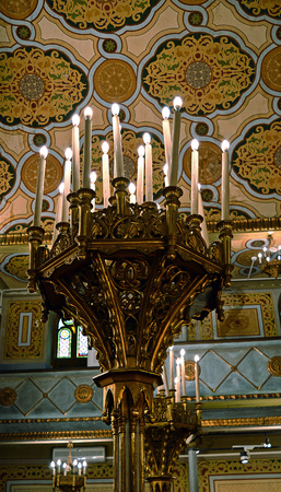 BUCHAREST, ROMANIA - 15 FEBRUARY 2016: The Great Synagogue was built in 1846 but the current Rococo interior was created in 1936. The building also houses a Holocaust museum.