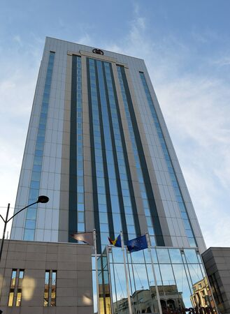 gutted: BUCHAREST, ROMANIA - 22 FEBRUARY 2016: Originally built as the Hotel Dorobanti in 1976, gutted and rebuilt as the Howard Johnson Grand Plaza in 2001, this buillding is now the Sheraton Bucharest. Editorial