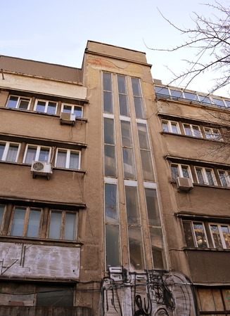 dilapidation: BUCHAREST, ROMANIA - 22 FEBRUARY 2016: Horia Creangas ARO Building, built between 1929 and 1931, was the first major modernist building in Romania has fallen into a state of disrepair. Editorial
