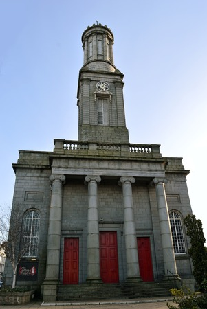 king street: ABERDEEN, SCOTLAND - 28 FEBRUARY 2016: Aberdeen Arts Centre, King Street, Aberdeen, a 350 seat theatre venue originally built as North Parish Church in Greek revival style by John Smith, 1829-1830, with clock tower based on Lysicrates monument.