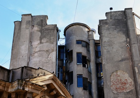 decaying: Decaying classic art deco architecture in Bucharest, Romania. Stock Photo
