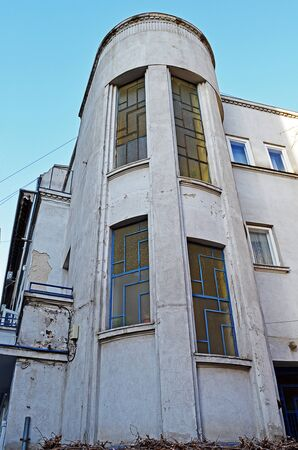 artdeco: Detail of typical art-deco residential building in Bucharest, Romania