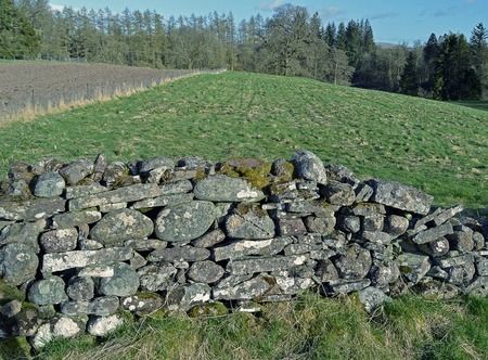 dyke: The drystane dyke, a wall assembled from stones laid on top of each other without any lime to bind them, has been the traditional way to separate fields in Scotland for many centuries. Stock Photo