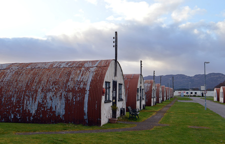 nazis: COMRIE, PERTHSHIRE, SCOTLAND - 18 APRIL 2016: Cultybraggan Camp with its Nissen hits, stands as the last remaining POW camps from the Second World War housing, supoosedly,