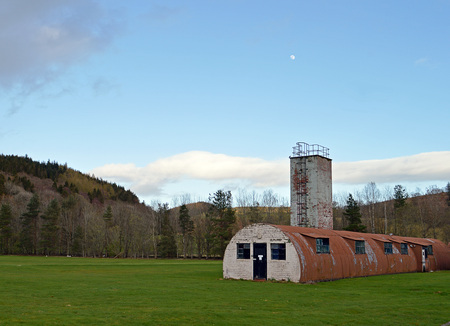 the nazis: COMRIE, PERTHSHIRE, SCOTLAND - 18 APRIL 2016:  Cultybraggan Camp with its Nissen huts, is the last remaining British POW camp from the Second World War housing, supoosedly,