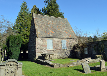 chancellor: All that remains of the mediaeval parish church of Kinnoull, Perth, Scotland, the tomb house of the first Earl of Kinnoull, Chancellor of Scotland, who died in 1635, and graves in the churchyard.