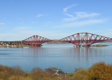passing over: The  site of the Forth Bridge carrying rail tracks from Edinburgh to North Queensferry and passing over the former prison and quarantine island of Inchgarvie.