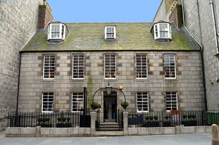 dun: ABERDEEN, SCOTLAND - 12 APRIL 2016: Built in 1769 James Duns House stands in Schoolhill, once the home of the Rector of the Grammar school, later a museum and gallery and now a hairdresser�s.