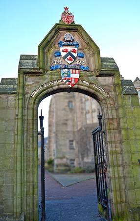 motto: ABERDEEN, SCOTLAND - 27 DECEMBER 2015:  The MacKenzie portal was built as part of New King�s in 1912 and carries the university�s coat of arms and motto, �The beginning of wisdom is far of the Lord�.