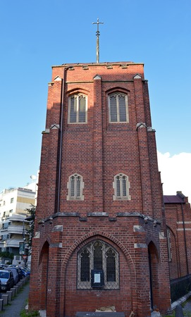 redbrick: BUCHAREST, ROMANIA - 13 MAY 2016: The redbrick Church of the Resurrection has been serving the Anglican community in the city, and in Sofia, Bulgaria, since 1913.