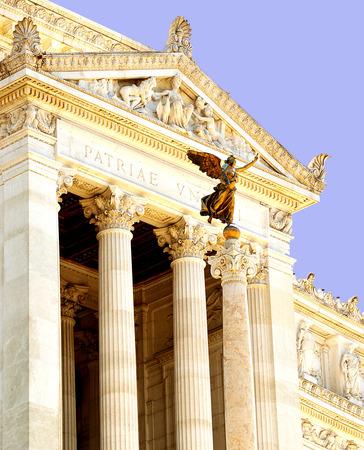 portico: Front portico at the national moniument to King Vittorio Emanuele, Altare della Patria, Rome, Italy Stock Photo