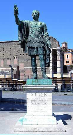 ROME, ITALY - 2 JUNE 2016: A statue of Nerva Caesar Augustus the first of the five good emperors stands outside the forum beating his name.