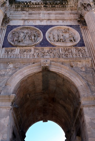 constantine: Sculptural details from the Arch of Constantine at the foot of the Palatine Hill, Rome, commemorating victory over Maxentius in 312. Stock Photo