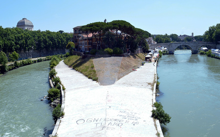Tiber Island and the Pons Cestius in the River Tiber, Rome, Italy