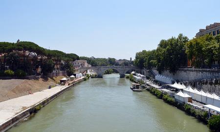 pons: The Pons Cestius (Ponte Cestio), a Roman stone bridge spanning the River Tiber to the west of Tiber Island