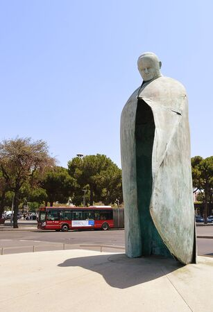 criticised: ROME - 3 JULY 2016: Oliviero Rainaldis reworked statue of Pope John Paul II (the first version was criticised for looking like Mussolini) stands outside the citys Termini station.