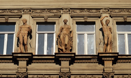 aphrodite: Hercules, Aphrodite and Apollo from the magnificent 1880s facade of the Bucharest Cinema (originally the Trianon) which showed its last film in 2004 and is now a rat-infested warehouse. Editorial
