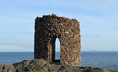The Lady Tower, Elie, Fife, Scotland: a changing tower for Lady Anstruther when batjing in the 1770s. Stock Photo