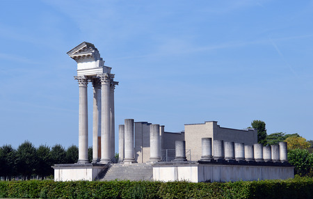The Roman Harbour Temple at Xanten Archaeological Park, Germany, formerly the Roman city Colonia Ulpia Traiana Editorial