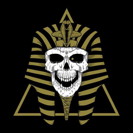 Pharao Skull Head Illustration