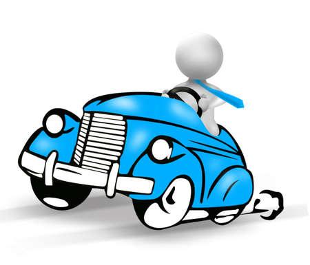 hombre conduciendo: Hombre Ejecutivo conduciendo la caricatura de coche