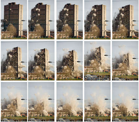 tower block being destroyed