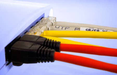 A small router  switch in a network Stock Photo