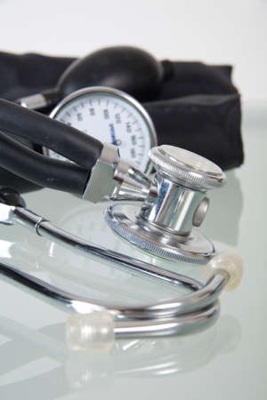 Blood pressure monitor and stethoscope Stock Photo
