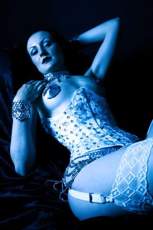 burlesque in blue Stock Photo