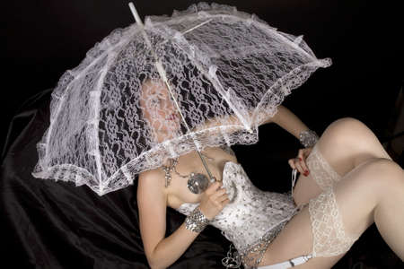 burlesque dancer with umbrella