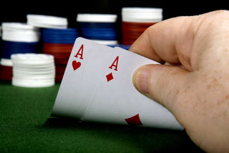 Pair of aces at poker (From a series of poker starting hands Stock Photo