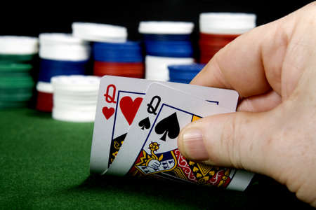 Pair of queens at poker (From a series of poker starting hands Editorial