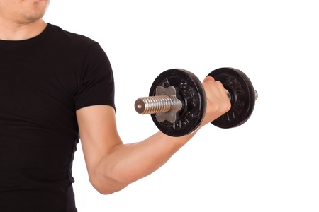 weighty: Man exercise with a weighty dumbbell. Isolated on white background. Stock Photo