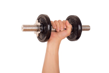robust: Dumbbell held firmly in the hand. Isolated on white background. Stock Photo