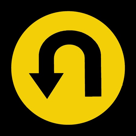 u turn: U-Turn Roadsign - Yellow road sign with turn symbol isolated on white background