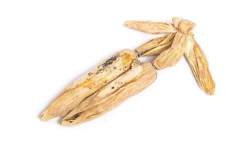 transgenic: Dried corn ears on white background Stock Photo