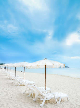 oncept: chairs on the beachม แoncept for rest, relaxation, holidays, spa, resort