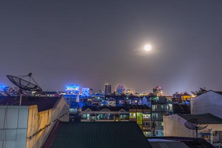 Night View of Yangon, Myanmar Banco de Imagens