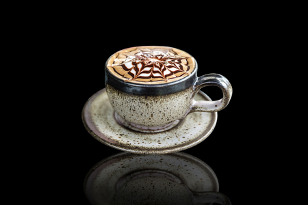 mocca: mocha coffee, Coffee cup On a black background Stock Photo