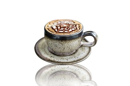 mocca: Cappuccino or latte coffee on a white background Stock Photo