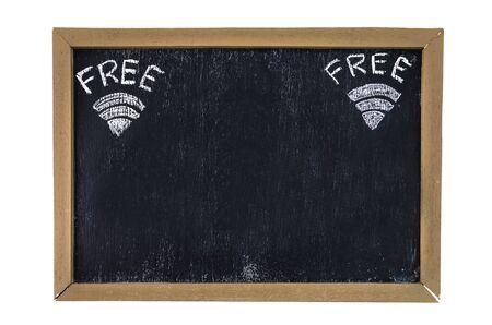 Wireless Network wifi icon on blackboard photo
