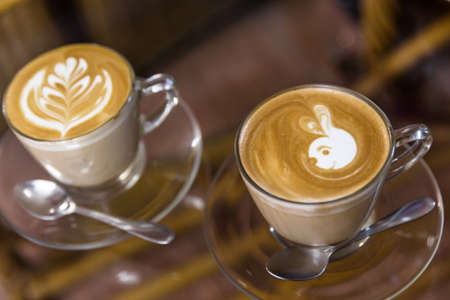 frothy: Cappuccino or latte coffee at the coffee shop