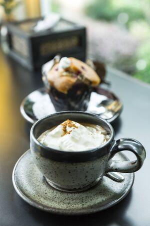 blueberry muffin: espresso coffee with cream and blueberry muffin, espresso coffee