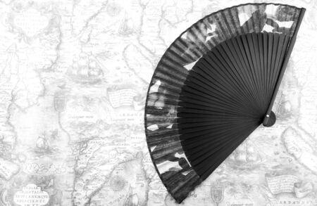 Single Antique Japanese Folding Fan, Japanese fan Stock Photo